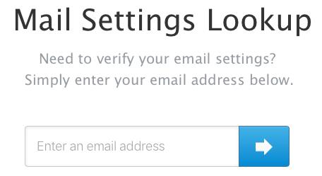 Mail Settings Lookup web page on Apple.com