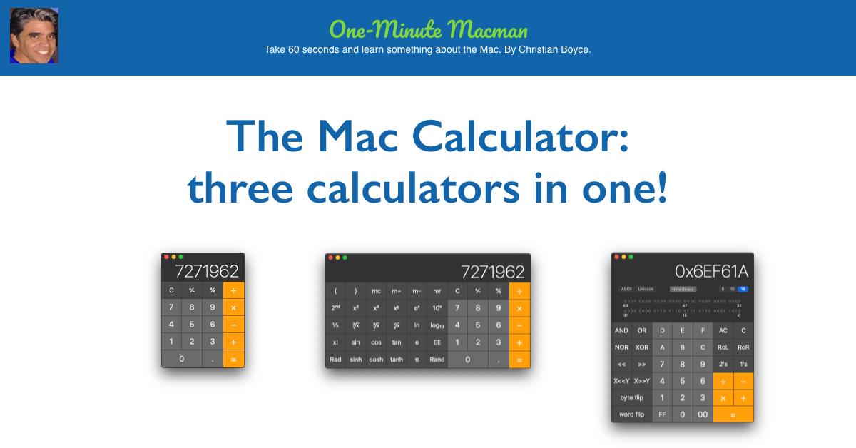 Mac Calculator three in one