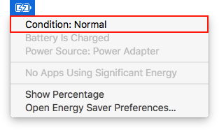 Apple laptop battery menu, Option key held down