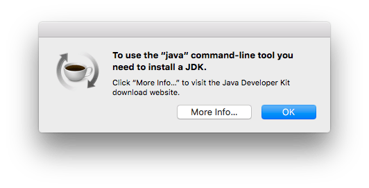 Java jdk pop-up