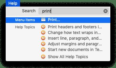 Searching in Text Edit's Help menu