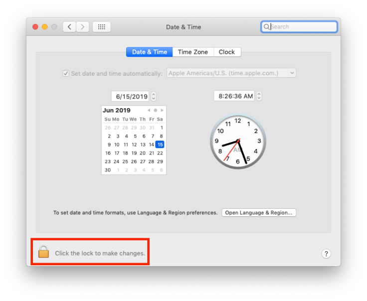 Date & Time preference pane, locked