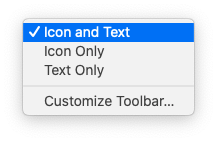 Contextual menu obtained by clicking a Finder window's toolbar while holding down the Control key