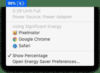 Battery menu, showing percentage