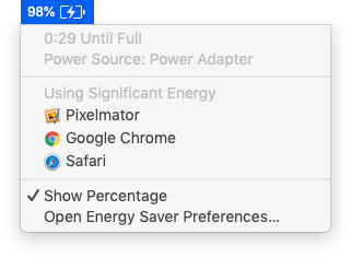Battery menu, showing percentage