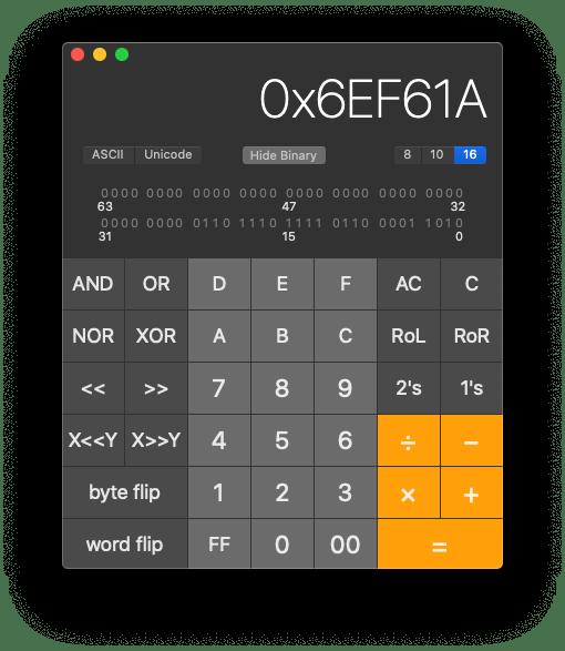 Mac Calculator app in programmer mode