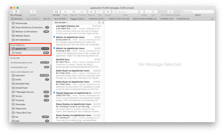 Mac Mail window showing Saved Searches (Smart Mailboxes)