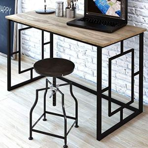 JGS Iron Frame Solid Wood Study Table for Students Office Writing Desk Computer Table Console Tables for Living Room