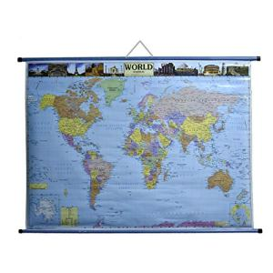 CRAFTWAFT ROLLUP POLITICAL MAP OF WORLD (WALL HANGING,PIPE MOUNTED)