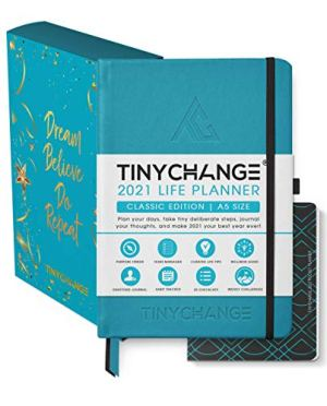 TINYCHANGE 2021 Classic Life Planner Diary; Daily; Weekly and Monthly Organizer Stationery Notebook Habit Tracker and Gratitude Journal with Productivity eBooks; Stickers; Thank You cards; Bookmarks