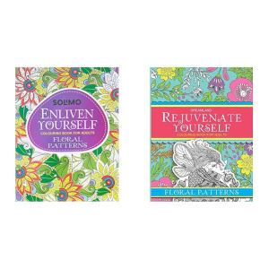 Amazon Brand – Solimo Enliven Yourself Colouring Book for Adults – Floral Patterns+Rejuvenate Yourself – Floral Patterns(Set of 2 books)