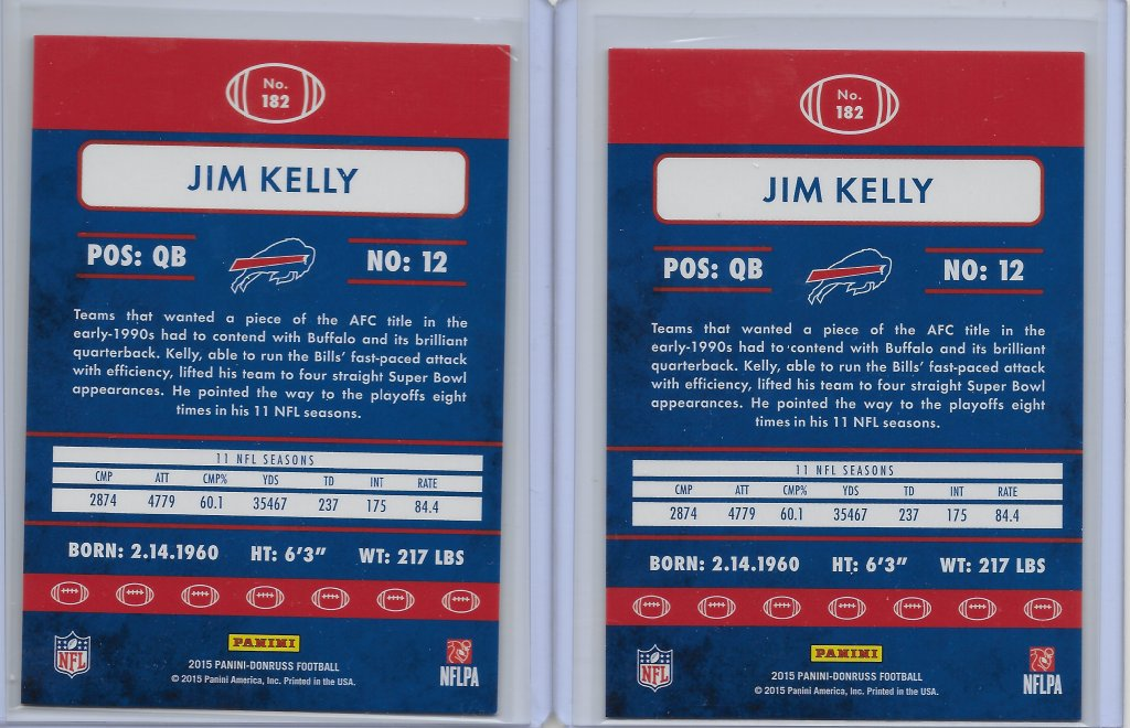 Jim Kelly 2015 Donruss #182 Years in the League Back