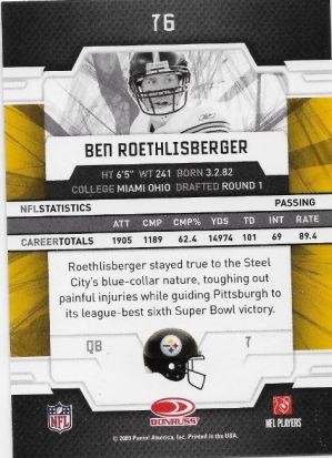 2009 Elite Roethlisberger Back