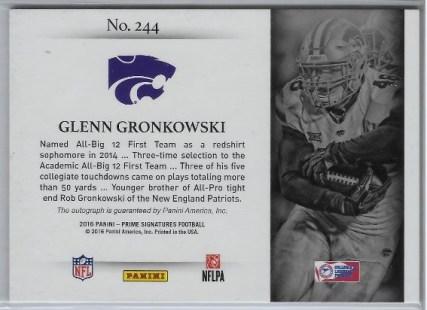 2015 Prime Glenn Gronkowski Auto Back