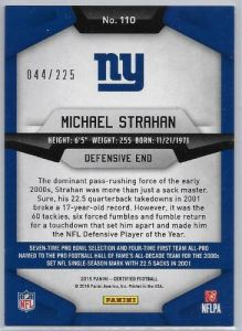 2016 Certified Michael Strahan Numbered back