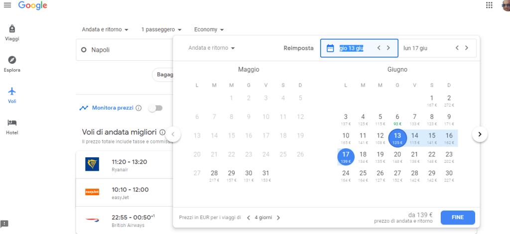 selezionare date su Google Flights