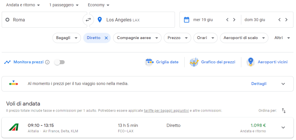 ricerca voli su Google Flights