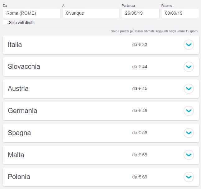 risultati ricerca ovunque su Skyscanner