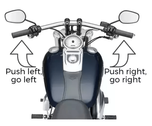 motorcycle counter steering technique, push and pull technique, bike counter steer