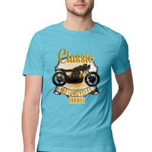 mens classic biker round neck t shirt