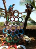 tire cimbing structure, climbing wall, recycle tires, play ground ideas,