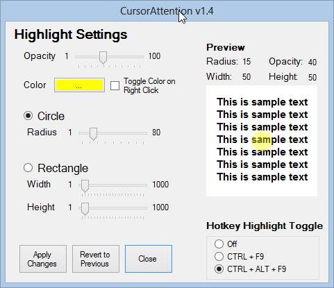 CursorAttention: Größe, Farbe und Transparenz der Markierung lassen sich frei definieren.
