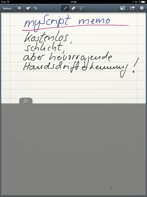Die Gratis-App für Freihandnotizen auf iPad und iPhone verfügt über eine sehr gute Handschrifterkennung. Damit verfasste Inhalte lassen sich – auch als Maschinentext – per Zwischenablage an OneNote übertragen.