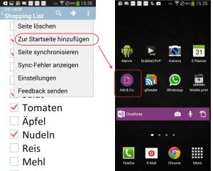 Abkürzung: In der aktuellen Version von Android-Mobile lassen sich direkt auf dem Startbildschirm Verknüpfungen zu Notizen ablegen.