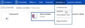 Auf OneNote gespeicherte Notizbücher lassen sich nur genau dort per Web-Browser löschen.