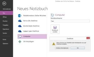 """Irreführend: Die Kostenlose OneNote-Version zeigt SharePoint und """"Computer"""" als Speicherort an, erlaubt aber nur OneDrive."""