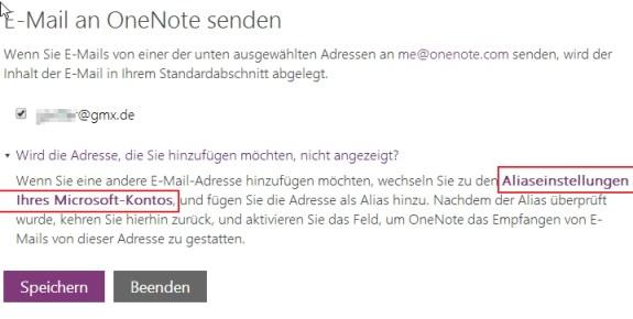 Mit einem Klick auf diesen unscheinbaren Link können SIe der Microsoft-Mailadresse weitere Aliase hinzufügen.