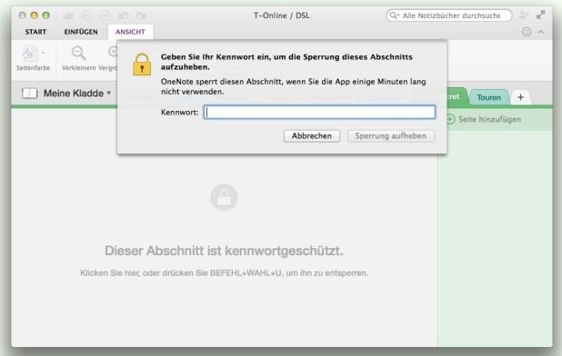 Das Verschlüsseln von Abschnitten erfordert immer noch OneNote 2013; aufperren lassen sie sich aber nun auf dem Mac...