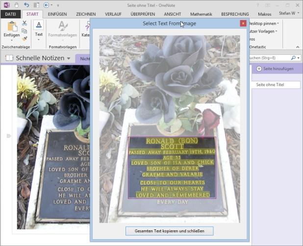 das Add-On Onetastic zeigt eine Vorschau des Bildes und kennzeichnet alle erkannten Textpassagen, die Sie von hier aus markieren und in die Zwischenablage kopieren können.