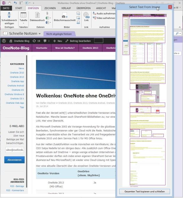 Das funktioniert mit allen Grafikobjekten, also auch PDFs oder (wie hier im Bild) umfangreichen Webseiten, die von OneNote-Web-Clipper übertragen wurden.