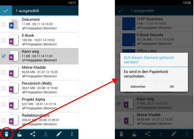 Etwas komfortabler als per Webbrowser geht's auf Mobilgeräten (hier: Android-Smartphone)  mit der jeweiligen OneDrive-App.