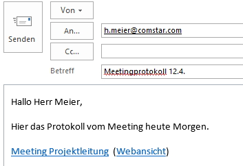 Fügt man den Inhalt der Zwischenablage z.B. in eine Mail ein, landen dort beide Links.