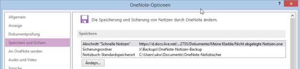 """OneNote 2010 und 2013 erlauben es, das Notizbuch mit dem Abschnitt """"Schnelle Notizen"""" selbst zu bestimmen. Auf Webclipper oder Mails an OneNote hat das aber leider keinen Einfluss."""