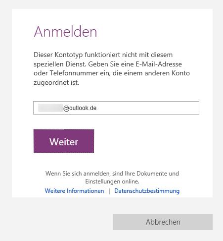 Irreführend: Die angebotene Funktion, der OneNote-App ein weiteres Microsoft-Konto hinzuzufügen führt nur zu einer ablehnenden Fehlermeldung.