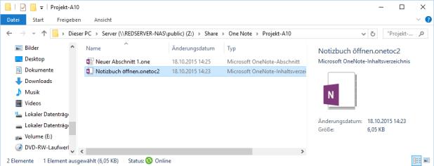 Im Notizbuchordner auf der Platte (oder dem Server) liegt auch eine Art Dummy-Datei namens Notizbuch öffnen. Ein Doppelklick darauf tut genau das.