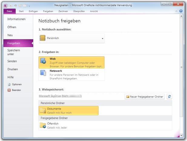 Erst mit dem Service-Pack 2 für MS Office kam in OneNote 2010 die Cloud-Speicheroption (Windows Live, SkyDrive) hinzu.