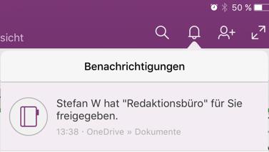 Eine neue Benachrichtigungsfunktion weist in der App zum Beispiel darauf hin,. dass Ihnen ein Notizbuch freigegeben wurde.