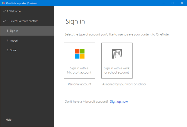 Die konvertierten Notizbücher werden, wie kann es auch anders sein, nur in der Cloud abgelegt. Dementsprechend hat man sich zuerst mit seinem Microsoft-Konto anzumelden.