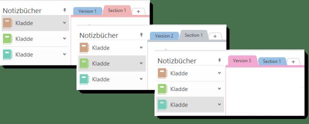 """Die Testdaten: Drei Notizbücher namens """"Kladde"""" an unterschiedlichen Speicherorten. Je ein Abschnitt ist unterschiedlich benannt (""""Version 1"""" bis """"Version 3""""). Dazu gibt es einen weiteren Abschnitt namens """"Section 1"""" in jedem der Notizbücher."""