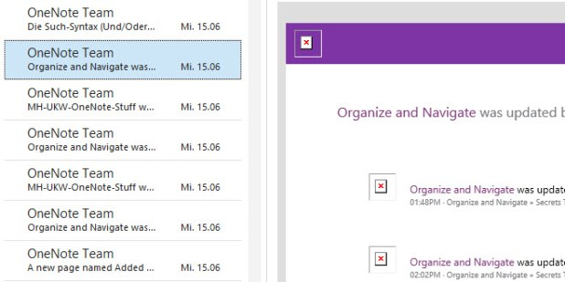 Mail-Flut: Plötzlich sorgte jede Änderung an gemeinsam genutzten Notizbüchern für eine Hinweismail.