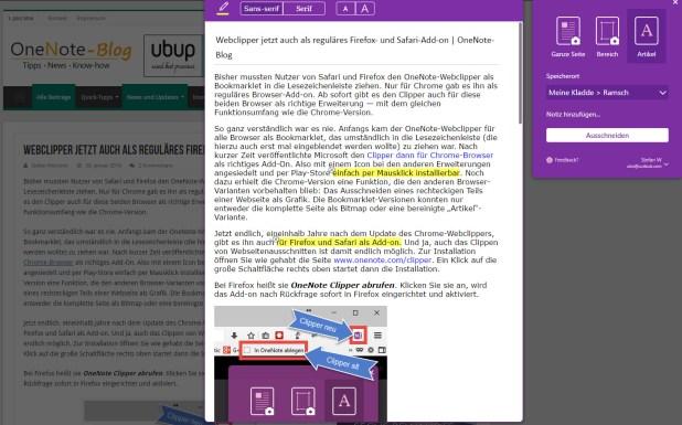 """Neu im """"Artikel""""-Modus des Clippers: Schriftart und -größe einstellen und Textbereiche hervorheben."""