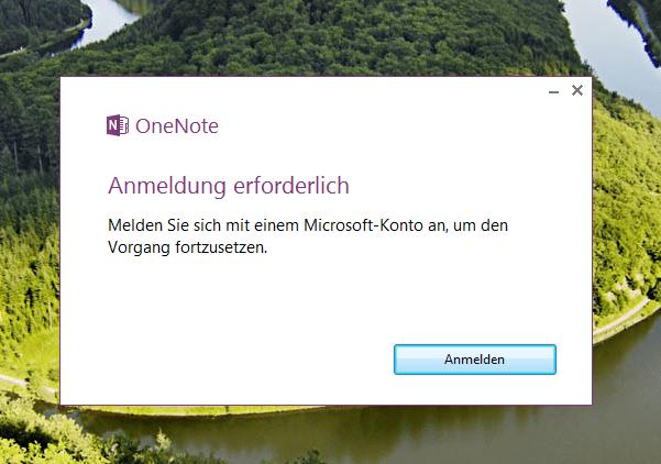 Mit Microsoft-Konto in OneNote anmelden