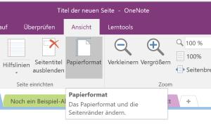 Papierformat in OneNote auswählen
