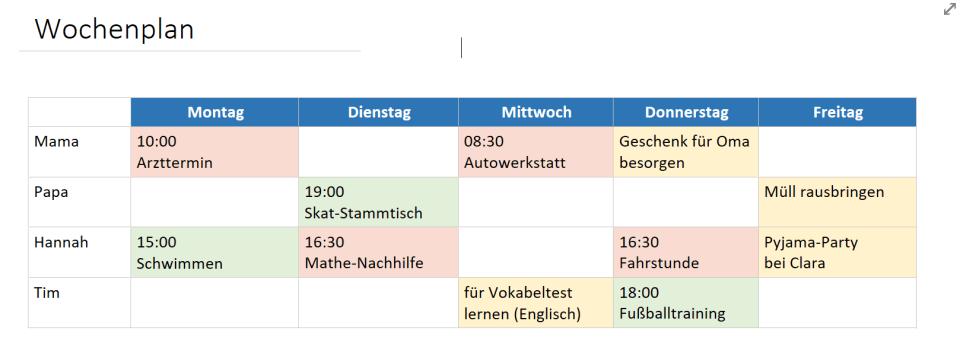 OneNote-Tabelle ausgefüllt mit Layout