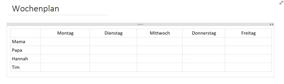 OneNote-Tabelle leer erstellt