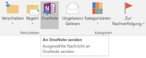OneNote in der Outlook-Funktionsleiste
